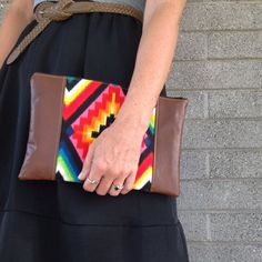 Mexican Tribal Print and Faux Leather Clutch on Etsy, $45.00