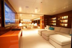 """You would never know this TV was mounted on a yacht if we didn't tell you. What a stunning """"above-water"""" living room!!"""