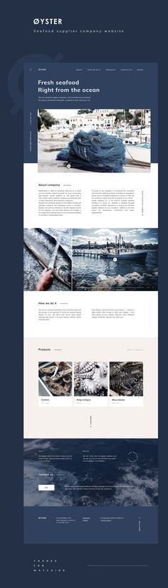 Øyster - Seafood supplier company website design - The Effective Pictures We Offer You About Web Design color palette A quality picture can tell you many things Minimal Web Design, Layout Design, Layout Web, Interaktives Design, Web Ui Design, Website Layout, Fish Design, Website Ideas, Interface Design