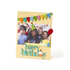 Happy Birthday Magnet Set with Party Banner Magnet make a cheerful display of favorite birthday memories.  Magnets and Yellow Memo Board From Embellish Your Story by Roeda.