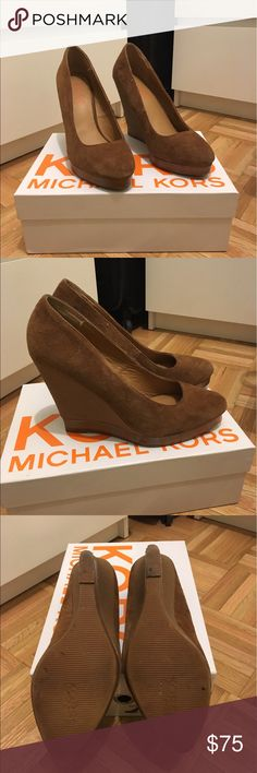 Michael Kors 8.5 Cassie Suede Tan Wedges Gorgeous Cassie Tan Suede Wedges bought directly from Michael Kors store! 8.5, gently used. Make me an offer! KORS Michael Kors Shoes Wedges
