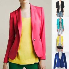Fashion Women Candy Color Basic Slim Foldable Suit Jacket Blazer 5 Colors