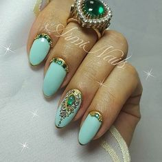 @pelikh_Дизайн ногтей тут! ♥Фото ♥Видео ♥Уроки маникюра Beautiful Nail Designs, Gel Nail Art, Nails On Fleek, Fun Nails, Gemstone Rings, Hair Beauty, Turquoise, Makeup, Color