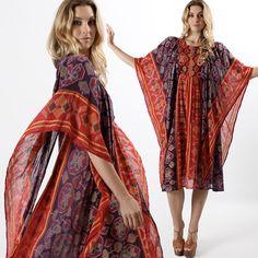Vtg 70s Ethnic India Gauze Festival Hippie Gypsy Boho Angel Slv Drape Mini Dress | eBay