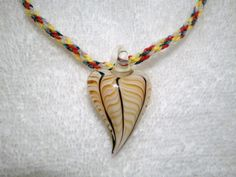 Kumihimo Braided Necklace with Glass Puffed Heart by JazminsJewels, $20.00