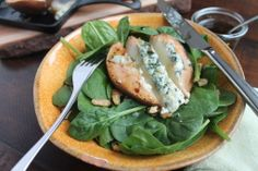 Warm Pear Stuffed with Blue Cheese, Baby Spinach and Walnut Salad