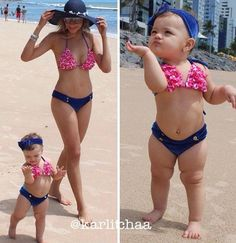 Mommy and baby matching swim suites!
