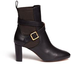7aeedf81fc50 Chloé - Black Elastic Back Leather Boots - Lyst