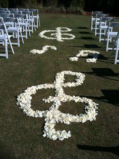 Rose Petals in Wedding Ceremony Aisle, Enchanted Florist