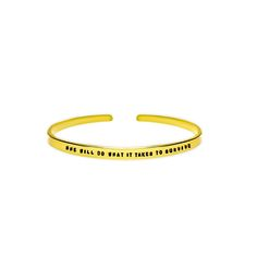 She Will Do What It Takes To Survive Cuff Bracelet - 14K Rose Gold Filled