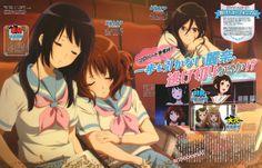 Sound! Euphonium (響け!ユーフォニアム)Reina and Kumiko resting soundly under Asuka's watchful gaze in new art by Beyond the Boundary character designer Miku Kadowaki (門脇未来), illustrated for Animedia Magazine (Amazon US   JP).