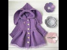 Tejido de ganchillo para nina facil Knitting For Kids, Baby Knitting Patterns, Crochet For Kids, Crochet Winter, Crochet Backpack, Crochet Jacket, Crochet Blouse, Baby Girl Sweaters, Knitted Baby Clothes