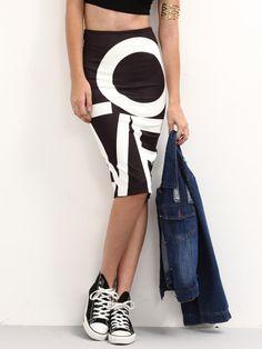 Letter Print Back Slit Pencil Skirt - Black