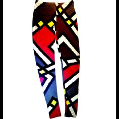 Graphic Leggings These funky leggings have a colorful geometric design aimed to give your outfit that edginess you're looking for. Material: Spandex Pants Leggings