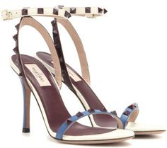 Valentino Rockstud Embellished Leather Sandals in White