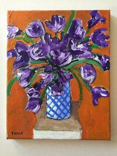 Original Oil Painting Purple Irises Impressionist Flowers Still Life Vase #Impressionism