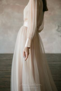 Vintage wedding dress from natural silk and blush tulle skirt. Victorian wedding dress, summer wedding dress, simple wedding dress 0134 Vintage wedding dress from natural silk and blush tulle skirt. Wedding Dress Winter, Two Piece Wedding Dress, Custom Wedding Dress, Winter Dresses, Wedding Gowns, Summer Wedding, Wedding Simple, Beige Wedding Dress, Trendy Wedding