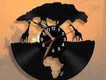 Jirafas africanas, Girafa, África, reloj de pared Vinyl Record Clock, Record Wall, Vinyl Records, Clock Art, Diy Clock, Record Crafts, Black Wall Art, Wall Clock Design, Wood Clocks