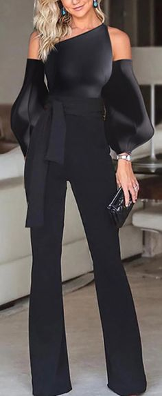 Black Jumpsuit - Black Jumpsuit Solid color off-the-shoulder puff sleeves jumpsuit, long sleeves design and short - Jumpsuit With Sleeves, Black Jumpsuit, Elegant Jumpsuit, Short Jumpsuit, Jumpsuit Dress, Classy Outfits, Chic Outfits, Look Fashion, Womens Fashion