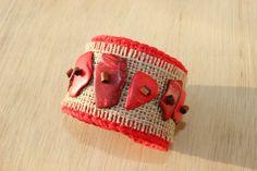 Crochet bracelet,  Burlap , Ethnic bracelet, Summer Braselet, Textile Jewelry , Ethnic Wedding