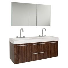 Shop for Fresca Opulento Walnut Double-sink Bathroom Vanity with Medicine Cabinet. Get free delivery at Overstock.com - Your Online Furniture Outlet Store! Get 5% in rewards with Club O!