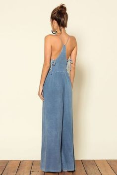 $80 Gorgeous Racer Back Light Blue Faux Denim Side Tie Wide Legged Jumpsuit Perfect Spring Outfit Trend