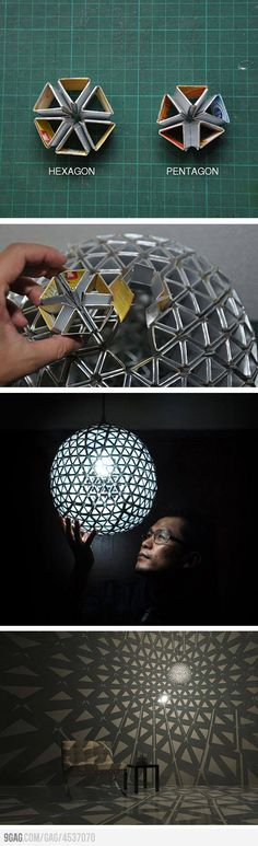 "DIY beautiful cardboard lamp...this is soooo sweet...not great instructions, but hopefully you get the general idea....I think I would cover the ""agons"" with tinfoil or gold wrapping paper (or both..or even some other  coloured foil wrap) but isn't this sweet!1"