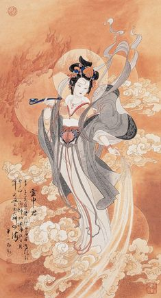 Goddess of Cloud 【By Hua Sanchuan (華三川) AD Born : Zhenhai District of Zhejiang Province (浙江镇海), China】 Art Painting, Character Art, Buddhist Art, Fantasy Art, Culture Art, Illustration Art, Art, Chinese Art, Geisha Art