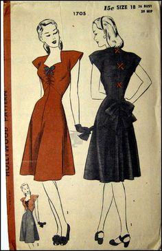 Vintage 1940 Stunning Afternoon Dress by FarfallaDesignStudio, $49.00