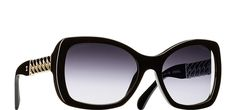 """Black Square Chain Chanel Sunglasses with Grey Gradient Lenses"""