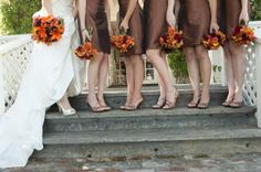 Fall Wedding in California - Bright Bouquets with autumn colors