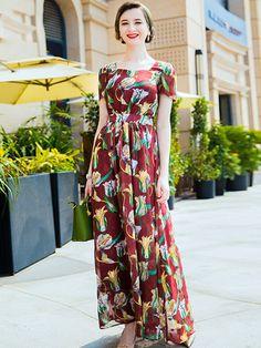 e57379c25be4a Square Neck Short Sleeve Big Hem Print Maxi Dress. Vestidos De Diseñador