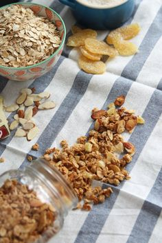 Coconut Ginger Almond Granola: Put it in your yogurt, top your ice cream with it, or just eat it by the handful. You don't want t miss out on this granola for a snack!