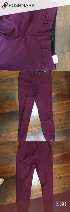 Banana Republic Sloan 00p Skinny Fit Gorgeous berry color. Needs to be ironed. Took out from depths of my closet :).  Ran through dryer for 20 min to see if I could shrink it - but wasn't super successful (think waist and length of pants slightly shrunk but rest seemed the same on my body) - see measurements in pics.  If interested, ask for more measurements. Great condition. Banana Republic Pants