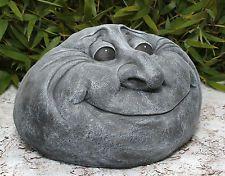 Sculpture en pierre Visage de Tête Jardin Décoration Jet Résistant au gel