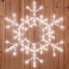 Warm White LED Snowflake, Outdoor Hanging Christmas Decor