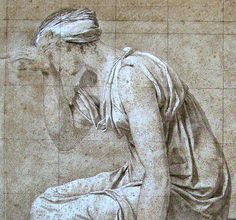 Study for the Oath of the Horatii: Sabina, black chalk and white highlights, × 51 cm Jacque Louis David, White Highlights, Drawing Projects, Sketch, Study, Romantic, Statue, Drawings, Black