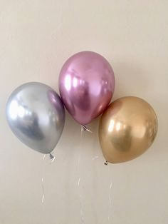 New Chrome Gold Silver or Mauve 11 inch Latex Balloons~Bridal Shower~ Baby Shower~First Birthday~Wedding~Gold Decor~New Chrome Balloons