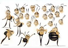 Bee Movie sketches, by Nico Marlet ✤ || CHARACTER DESIGN REFERENCES | Find more at https://www.facebook.com/CharacterDesignReferences if you're looking for: #line #art #character #design #model #sheet #illustration #expressions #best #concept #animation #drawing #archive #library #reference #anatomy #traditional #draw #development #artist #pose #settei #gestures #how #to #tutorial #conceptart #modelsheet #cartoon