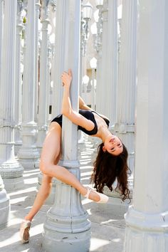 Photo by Ballet Zaida. Dancer Amber Ray. Taken in Los Angeles California. Urban Light Installation by Chris Burden at LACMA