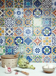 Fired Earth have an exclusive collection of wall tiles, floor tiles, designer paints, kitchens and bathrooms. Kitchen Wall Tiles, Wall And Floor Tiles, Kitchen Decor, Kitchen Design, Patchwork Tiles, Fired Earth, Mosaic Garden, Garden Tiles, Tiles Texture