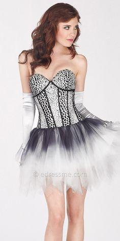 Animal Print Corset Short Prom Dress by Alyce Paris