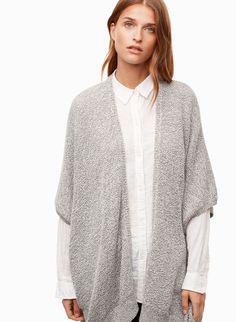 This oversized sweater is knit with a cotton-blend yarn in a textural purl stitch. The cape-inspired silhouette makes it easy to layer. Purl Stitch, Knit Cardigan, Cape, Hair Beauty, Knitting, Sweaters, Cotton, How To Wear, Community