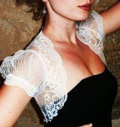 White Lace Bolero Jacket - Wedding Shrug