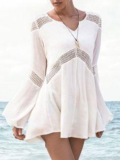 White V-neck Crochet Trumpet Sleeve Hi-lo Dress