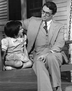 Mary Badham and Gregory Peck in a scene of To Kill a Mockingbird, directed by Robert Mulligan