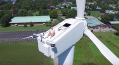 No privacy left in the world: Drone finds man sunbathing atop wind turbine (VIDEO)
