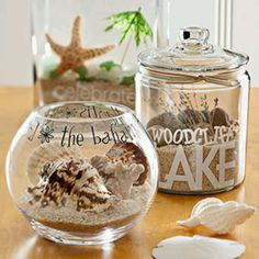Themed Seashell Jars - (label jars with stickers or use stencils) wouldn't this be adorable for collecting shells from a honeymoon....or memorable trip to collect goodies along the way ie. Matchbooks, coasters, etc...love this!