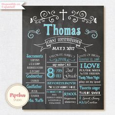 Chalkboard poster. First Communion Poster. First by Pipetua