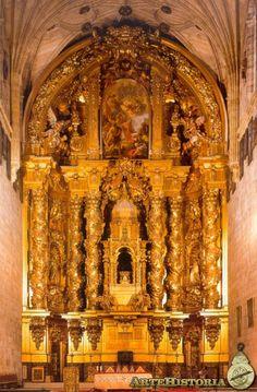 JOSE CHURRIGUERA San Esteban de SALAMANCA. Retablo mayor. 1695 Art History, Barcelona Cathedral, Spain, Places To Visit, Building, Alba, Old Churches, Temples, Baroque Architecture